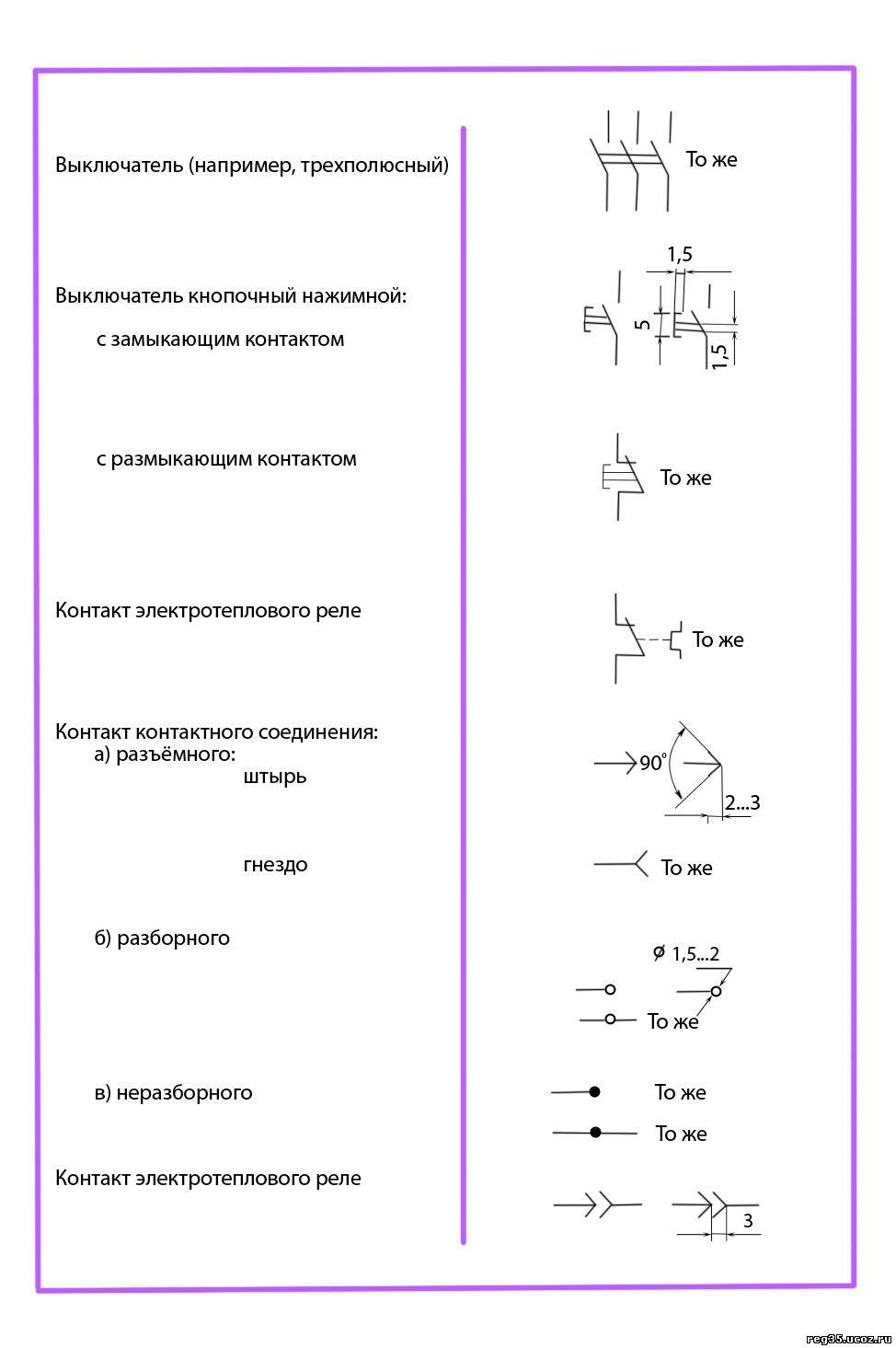Условные графические обозначения электрической схемы